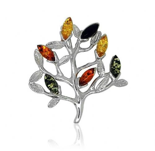Silver Amber Tree Of Life Brooch